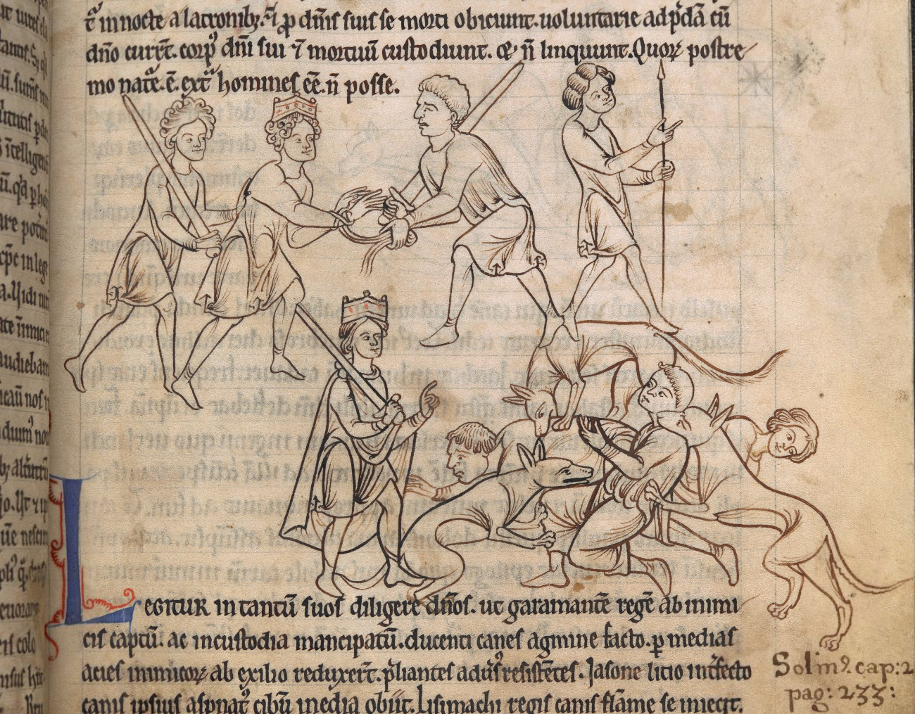Medieval miniature: King Garamantes captured by his enemies and then rescued by his dogs